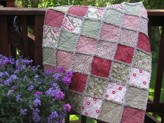 Shabby Chic Rag Quilt Flannel Pink and Green