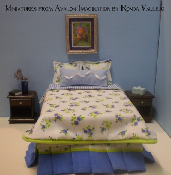 PRICE REDUCED Dollhouse miniature 1/12th scale full size shabby cottage bedding set in blue and apple green.