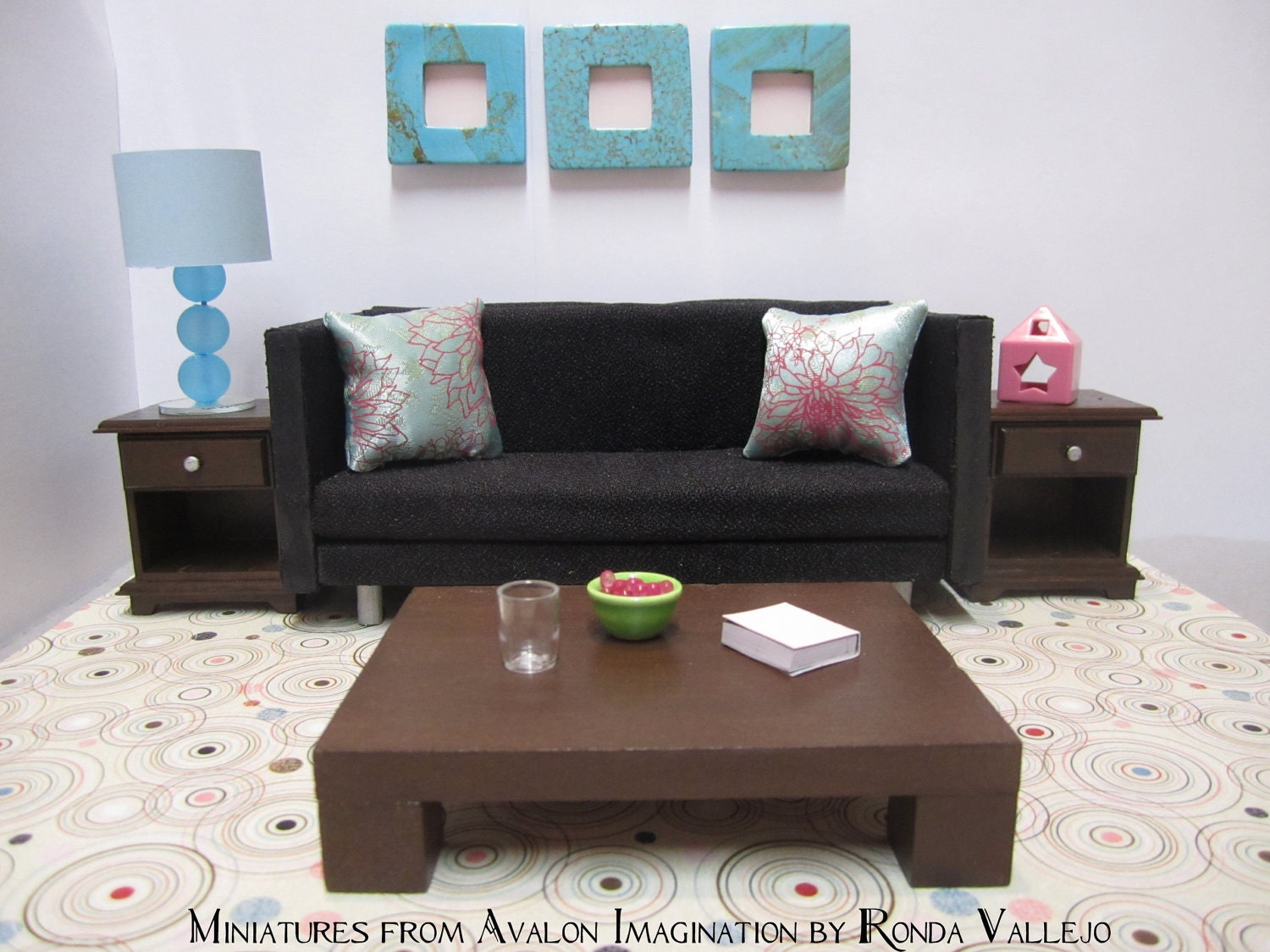 1 12 Scale Chocolate Brown Modern Dollhouse Coffee Table