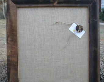 "22x26"" Beautiful Barn Wood Frame with burlap Cork Board"