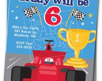 Race Car Birthday Invitations: Printable Boys Party Invites