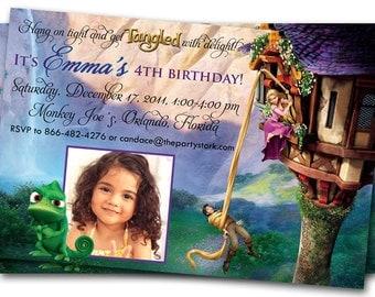 Tangled Invitation, Rapunzel Invitation, Tangled Birthday Party, Printable Tangled Party Invitation with Photo
