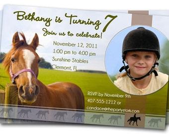 Horse Birthday Party Invitations: Printable Girls or Boys Invitation, YOU PRINT, DIY Custom Photo Equestrian Invites