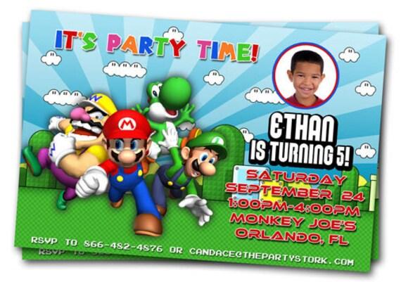 items similar to mario birthday invitations  printable custom, Birthday invitations