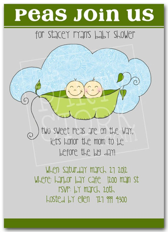 Twin Baby Shower Invitation Printable Two Peas in by ...