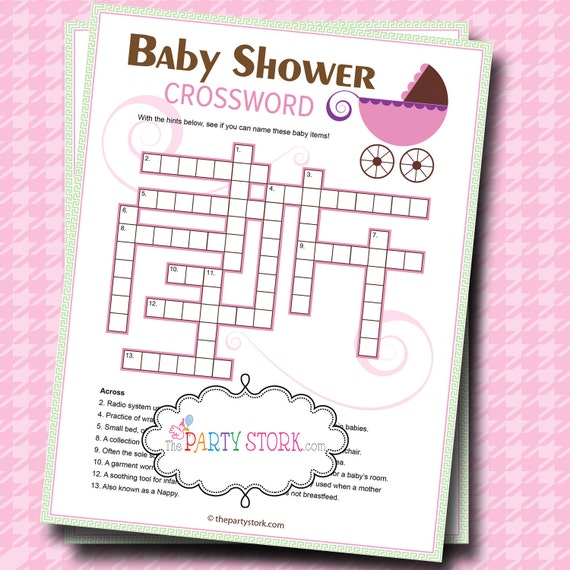 Baby Shower Games  Crossword Puzzle Game  PRINTABLE  Stroller  Many