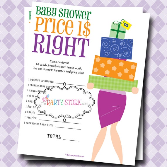 instant download the price is right baby shower game printable many