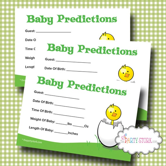 Printable Baby Shower Prediction Game, Baby Shower Predictions Card Games, by The Party Stork