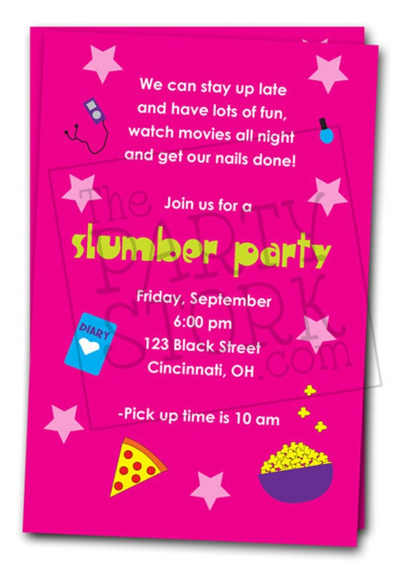 Cute Sleepover Invitations – Cute Slumber Party Invitations