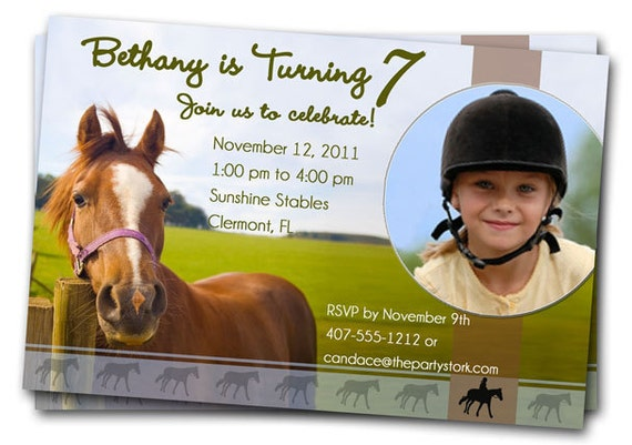 Horse Birthday Party Invitations Printable Girls or Boys – Horse Party Invitations