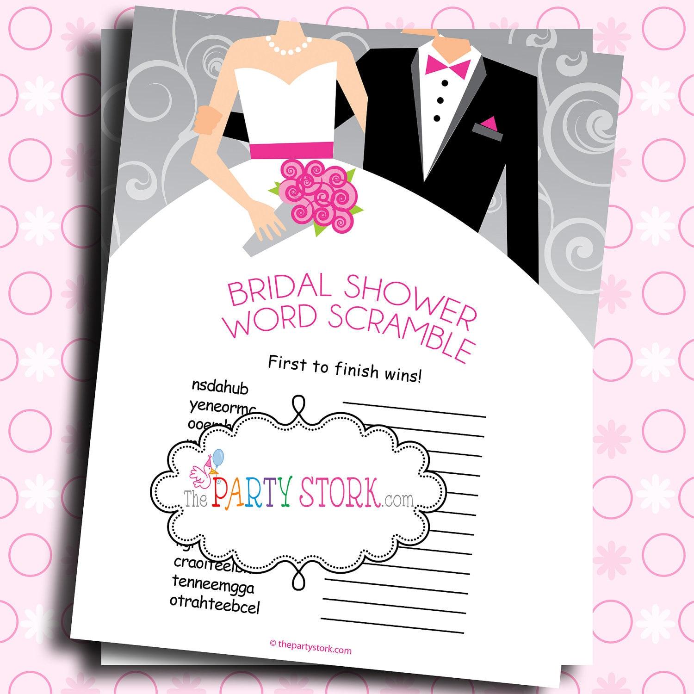 Bridal Shower Word Scramble Game Images