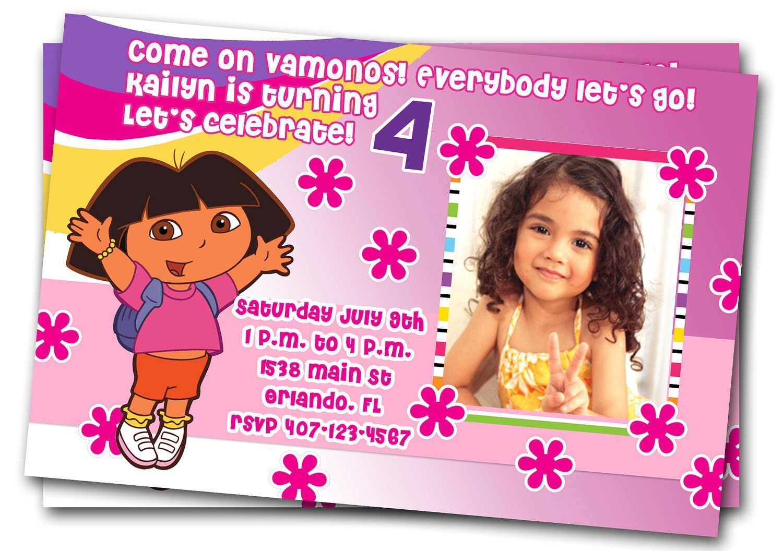 Dora Birthday Party Invitations Image Inspiration Of Cake And