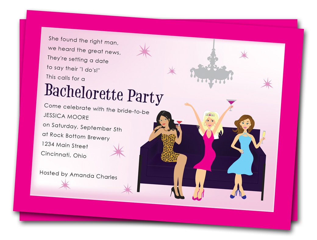printable bachelorette party invitations girls by thepartystork. Black Bedroom Furniture Sets. Home Design Ideas