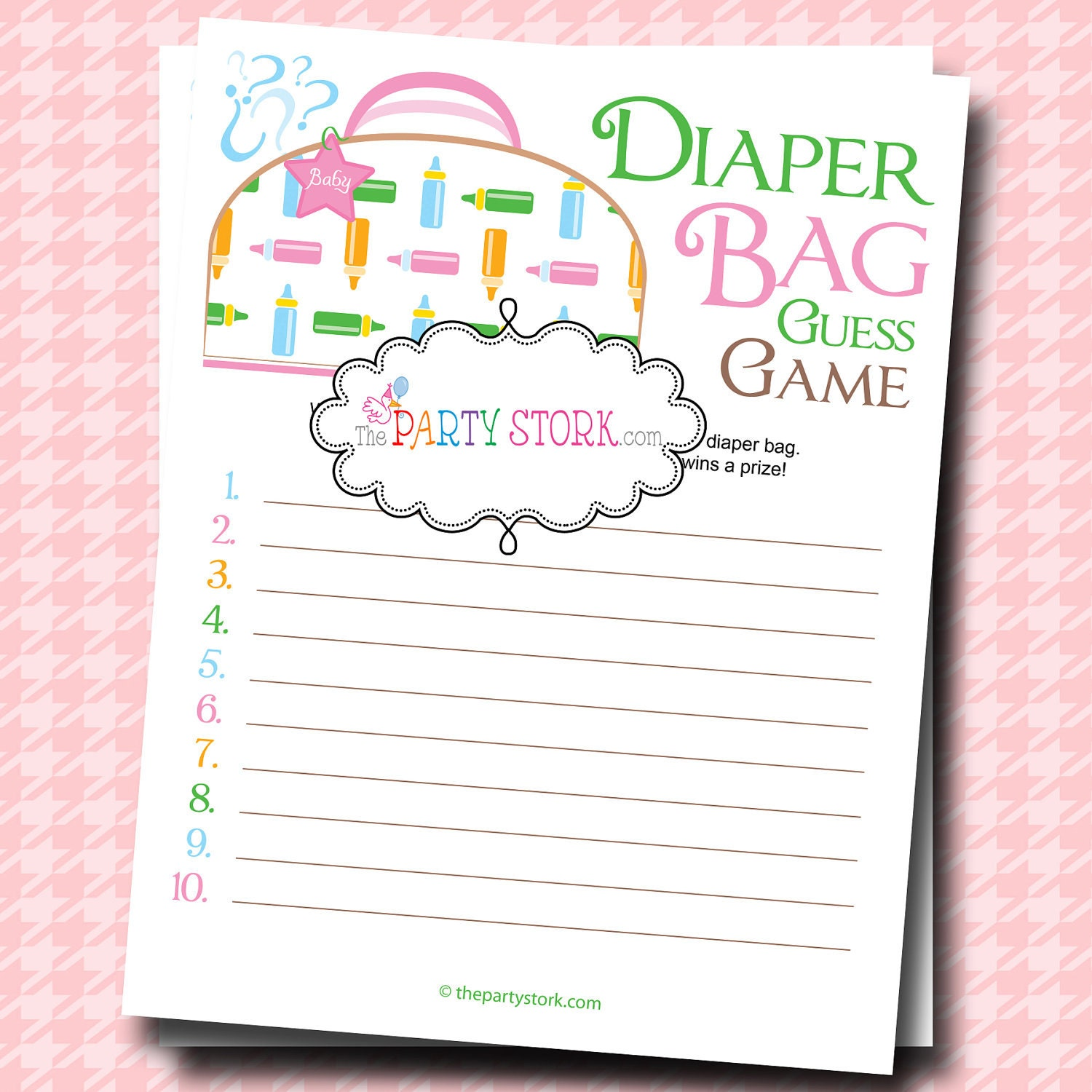 baby shower games unique diaper bag guess game printable