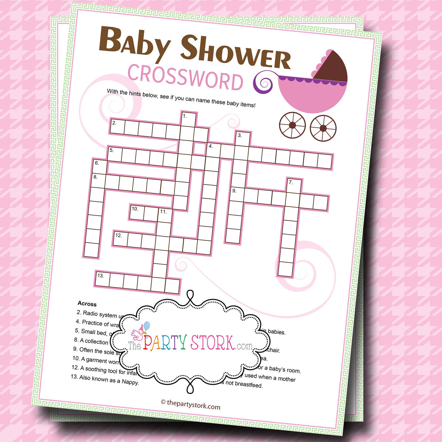 baby shower games crossword puzzle game printable stroller