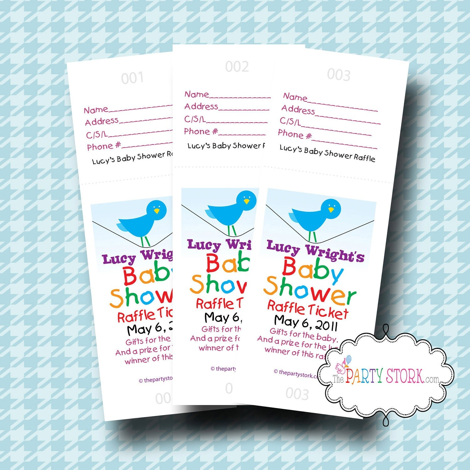 32 baby shower raffle tickets shower game personalized