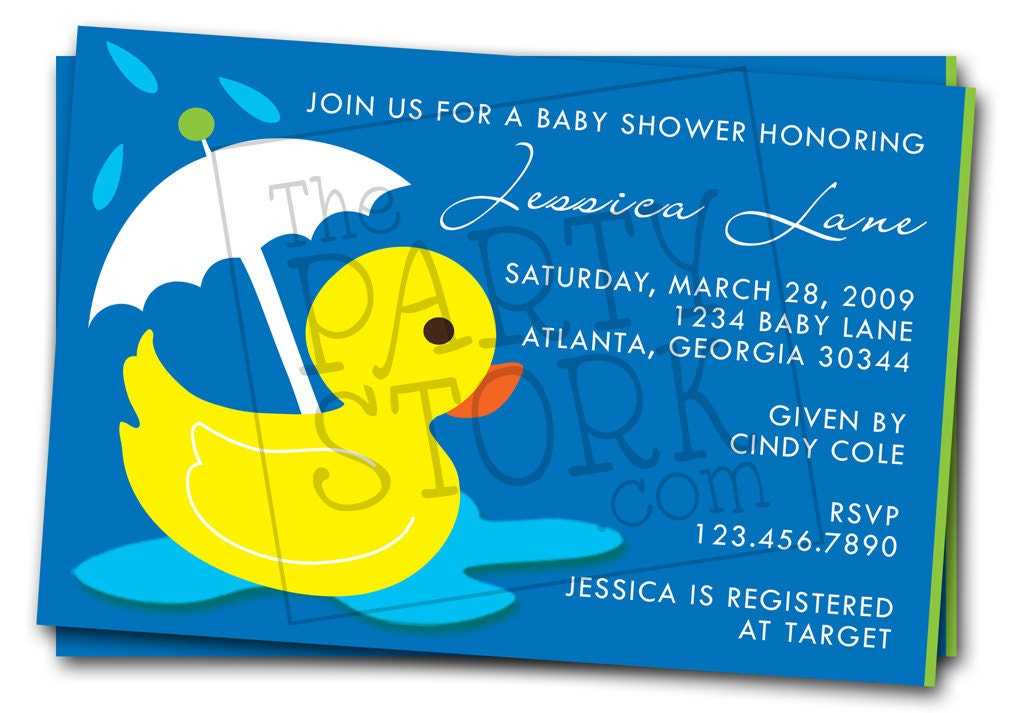 rubber duck baby shower invitations printable by thepartystork