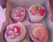 Washcloth Bodysuit Socks  Baby Shower Gift- Baby Cupcake - Unique Shower Gift - Girly Girl Gift Set
