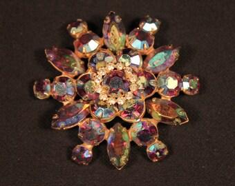 Classic Aurora Borealis Flower Brooch or Pin, Vintage, Rhinestone,