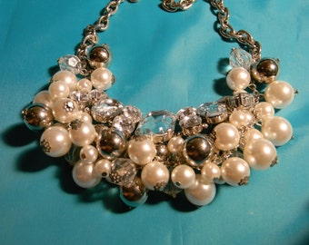 80s Bold Faux Pearl Necklace, Vintage, Silver Tone, Party. Modern