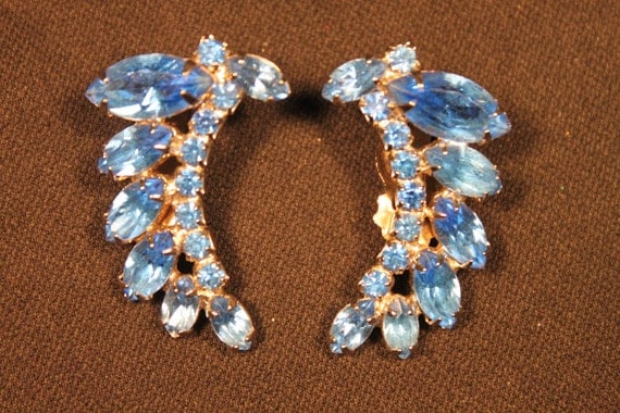 """Reserved for """"T"""", Vintage Earrings, Weiss, Blue Rhinestones, Prong Set"""