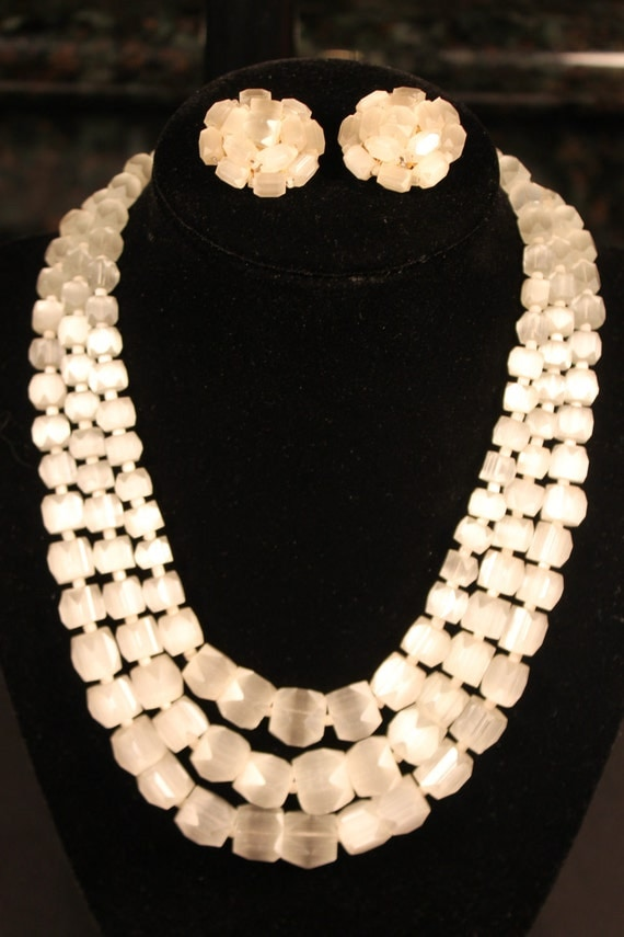 Elegant White Glass Demi Parure or Set, Vintage, 50s