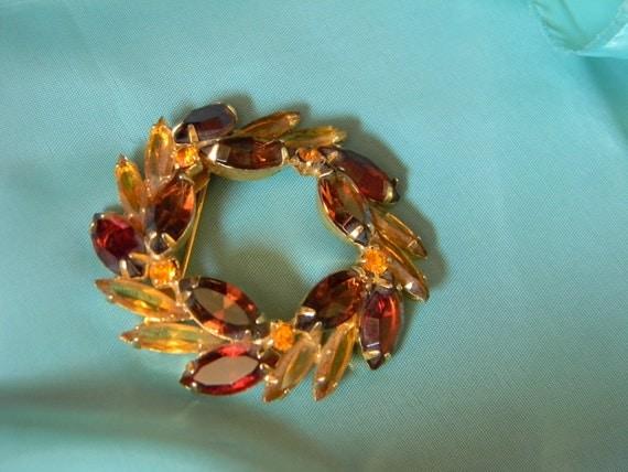 Dark Red, Topaz and Amber Rhinestone Wreath, Vintage Brooch