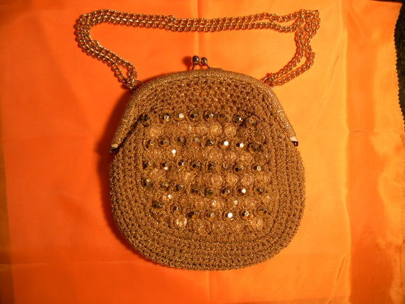 Italy, Vintage Purse, Burnished Gold Macrame with Beads