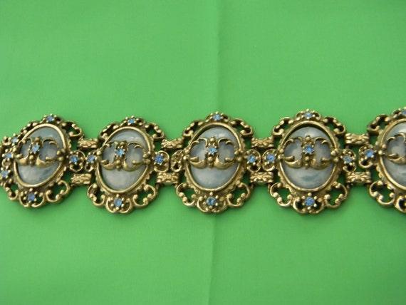 Blue Lucite Ovals, Silver Tone, Vintage Bracelet