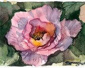 ACEO Limited Editions 10/10-Peony in Solitude, in watercolor.