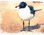 ACEO Limited Edition 5/10 - ~Seagull in the Sand~ in watercolor