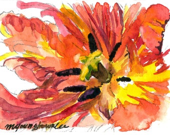 ACEO Limited edition 7/10- A Penoy Blossom, Art card of an ACEO original watercolor, Flower painting, Gift idea for house warming party