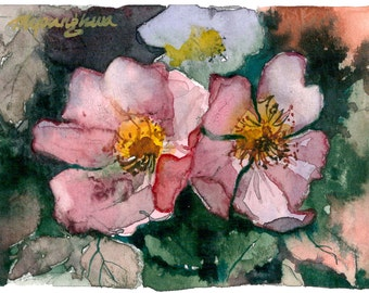 ACEO Limited Edition 2/10- Wild Berry Flowers in watercolor.