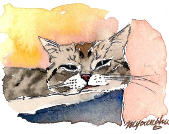 ACEO Limited Edition 10/10, Last print - A Drowsy Day, in watercolor