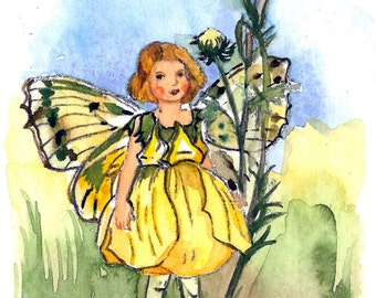 ACEO Limited Edition- Buttercup fairy inspired by Cicely Mary Barker, in watercolor