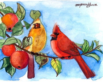 ACEO Limited Edition 4/10- Cardinals in the Apple Tree, in watercolor