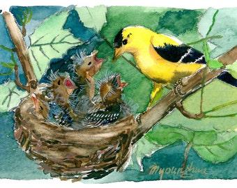 Bird Nest Painting Etsy