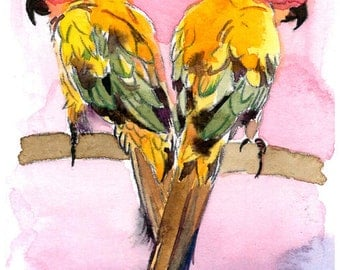 ACEO Limited Edition 4/10- Heart of a Lovebird, in watercolor