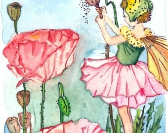 ACEO Limited Edition 5/25- Shirley poppy flower fairy inspired by CM Barker, Home deco idea, Gift for housewarming party