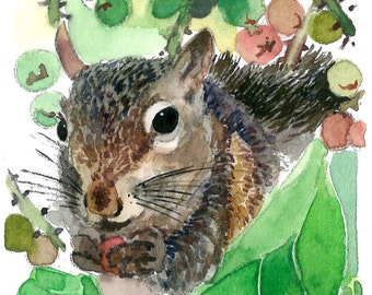 ACEO Limited Edition 2/25 - A Squirrel's Story, Art print of an ACEO original watercolor, Animal painting, Squirrel, Gift for animal lovers