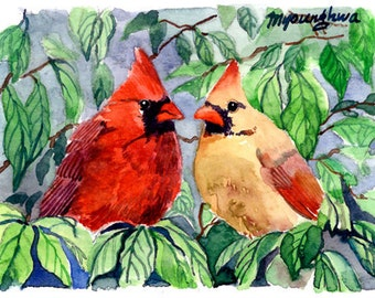 ACEO Limited Edition 6/10 - The Cardinals, Gift for bird lovers, Art print of an original ACEO watercolor, Home deco idea