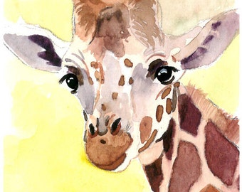 ACEO Limited Edition - Happy Giraffe, in watercolor