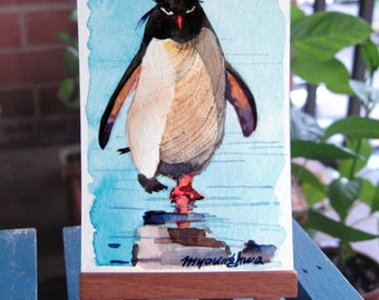 ACEO Limited Edition 4/25- Boss, Penguin art print of an original ACEO watercolor, Gift for bird lovers, Home decor idea, Collectible art