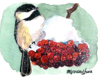ACEO Limited Edition - Memories of Winter, Chickadee in snow, Gift for bird lovers, Art print of an original ACEO watercolor, Home deco idea