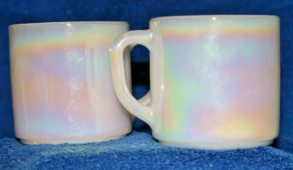 2 60's FireKing Iridescent  white coffee cups