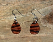 Wood Earrings Handmade Zebrawood Dangle Style w/ Sterling Silver Unique gift for her. rustic gift for any woman