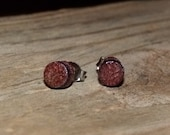 Wood Stud Earrings Handmade Purpleheart w/ SS Posts