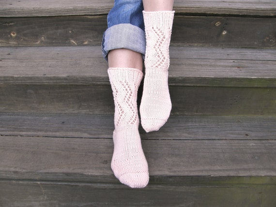 READY-TO-SHIP Knitted cotton lacy light - pink socks