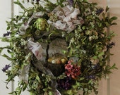 Elegant Easter/Spring Door Wreath with Grapevine Basket /Eggs and Feathers -- FREE SHIPPING