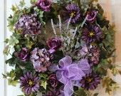 Summer Front Door Wreath, Beautiful Purple Roses, Hydrangeas, Daisies, Lavender -- FREE SHIPPING